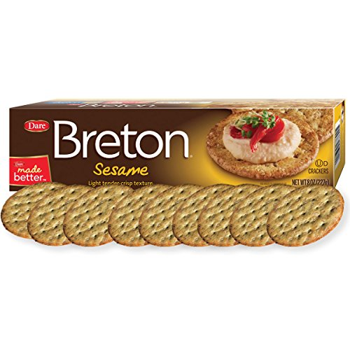 Dare Breton Crackers, Sesame – Party Snacks with no Artificial Flavors and 0g of Trans Fat per Serving – 8 Ounces (Pack of 12)