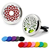 essential oils air freshener - RoyAroma 2PCS 30mm Car Aromatherapy Essential Oil Diffuser, Stainless Steel Locket Air Freshener