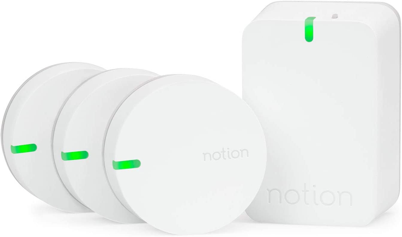 Notion Smart Home System (Gen 3): Monitor and Receive Alerts on Doors, Windows, Water Leaks, Sounding Alarms. Works with Nest (1 Bridge + 3 Wireless Sensors)