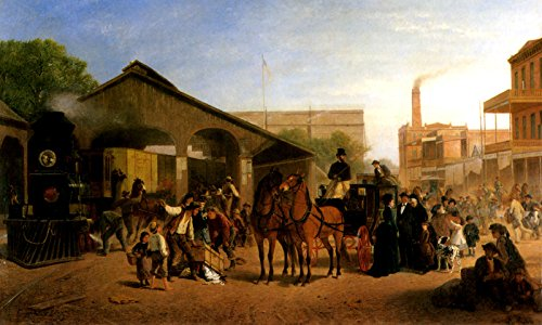 SACRAMENTO RAILROAD STATION 1874 TRAIN AND HORSE DRAWN CARRIAGE PAINTING BY WILLIAM HAHN LARGE CANVAS REPRO