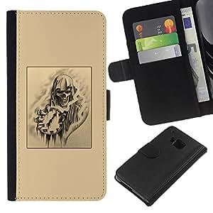 Stuss Case / Funda Carcasa PU de Cuero - Time Rock Metal Negro Arte - HTC One M9