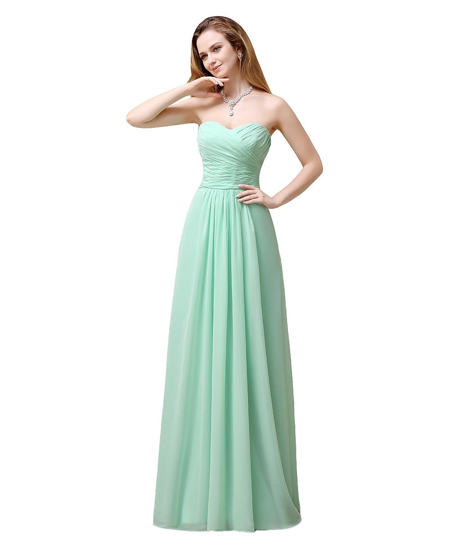 YesDress Young Girls Formal Popular Spring Best Sweet Heart Chiffon Zipper Back Long Mint Bridesmaid Dresses