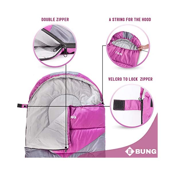 Ebung Sleeping Bag for Cold Weather - Envelope Portable Ideal for Winter, Summer, Spring, Fall - Outdoor Camping, Hiking, Traveling-Adults,Kids,Boys,Girls-Lightweight Waterproof Washable 4