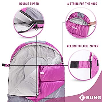 Ebung Sleeping Bag for Cold Weather – Envelope Portable Ideal for Winter, Summer, Spring, Fall – Outdoor Camping, Hiking, Traveling-Adults,Kids,Boys,Girls-Lightweight Waterproof Washable