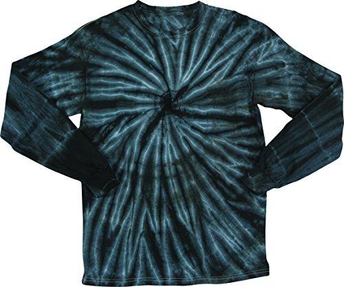 2Bhip Black Faded Cyclone Unisex Adult Tie Dye Long Sleeve T-Shirt Tee