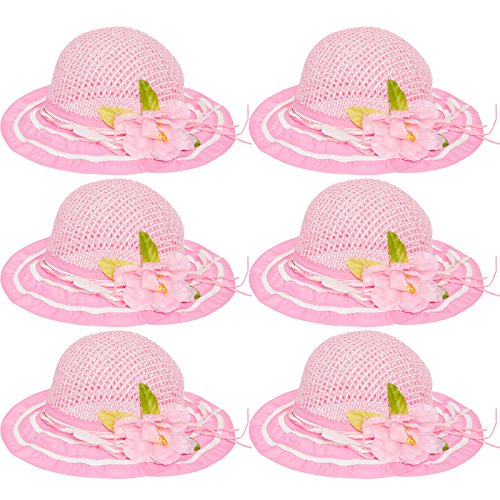 6 Pack Cutie Collections Girls Tea Party Flower Costume Sun Hats (Pink) (Rays Party Store)