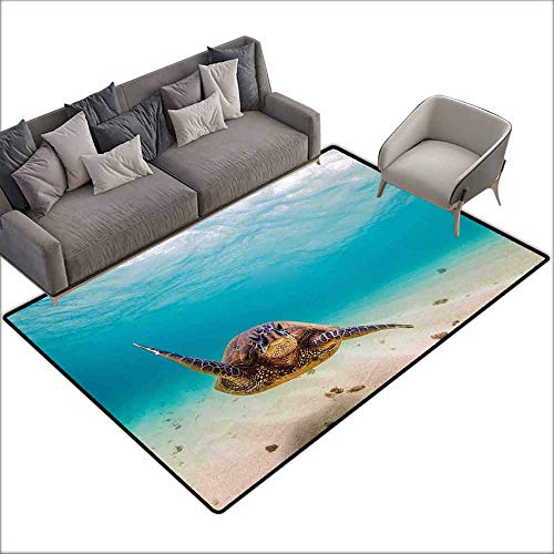 Door Rug Indoors Hawaiian Underwater Scuba Diving Sea Turtle Nature Animal Swimming Wildlife Theme Hard and wear Resistant W6' x L7'10 Blue Beige Brown (The Diving Bell And The Butterfly Themes)