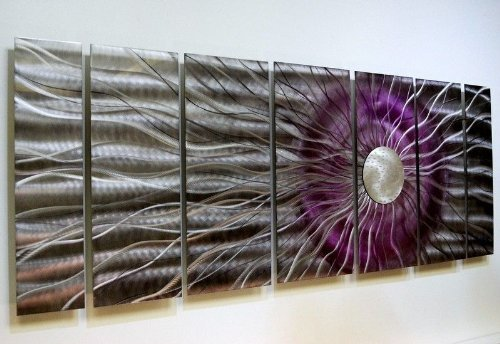 Extra Large 3d Fantasy Purple, Black, Silver Metal Wall Art -