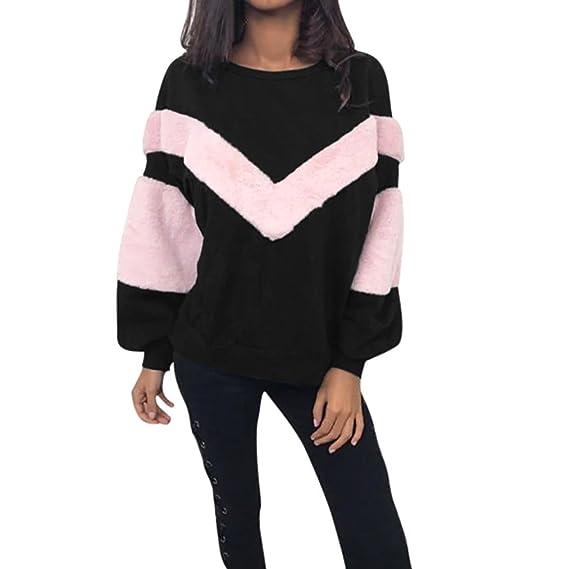 ❤️Xinan Moda Mujer O cuello Camisa de entrenamiento Mangas mano Pelusa Labor retazos Camisetas y tops Manga larga Pulóvers T Shirts Blusa Mujer Sudaderas ...