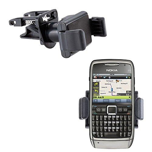 Innovative Ultra Compact Mini Vent Cradle Vehicle Mount designed for the Nokia E71 E71x E75 - Adjustable Vent Clip Holder (Phone E71x)