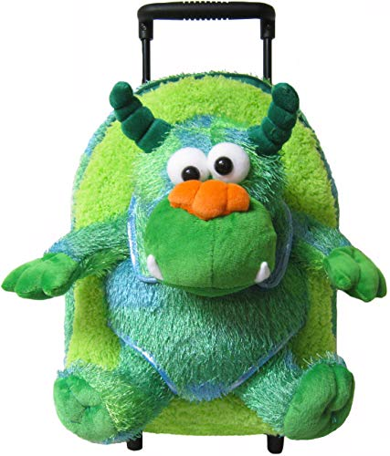 Kreative Kids Plush Rolling Backpack Monster, Green