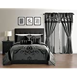 Violeta 7-Piece Cozy All Seasons Comforter Set, Full, Grey