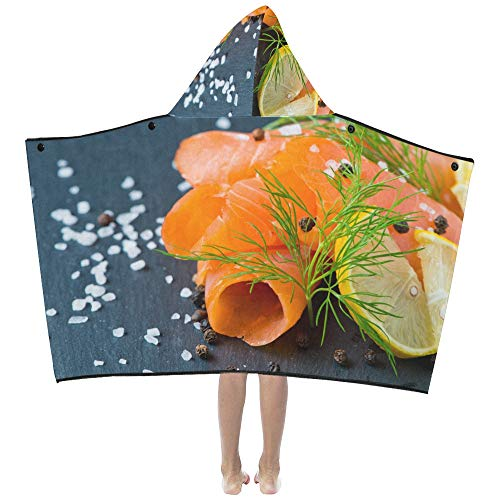 (Gednix Fresh and Juicy Salmon Soft Warm Cotton Blended Kids Dress Up Hooded Wearable Blanket Bath Towels Throw Wrap for Toddlers Child Girls Boys Size Home Travel Picnic Sleep Gifts Beach)