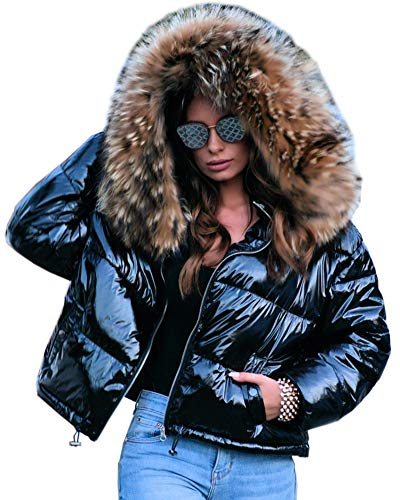 Aofur Womens Ladies Quilted Winter Coat Fur Collar Hooded Down Jacket Parka Outerwear (Small, Black_Short Style)