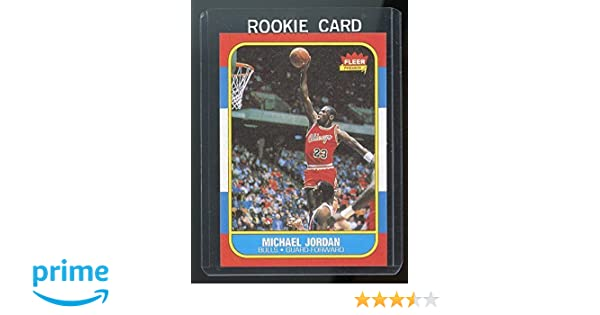 690de95acd6 1986-87 Fleer  57 Michael Jordan Chicago Bulls Rookie REPRINT Card at Amazon s  Sports Collectibles Store