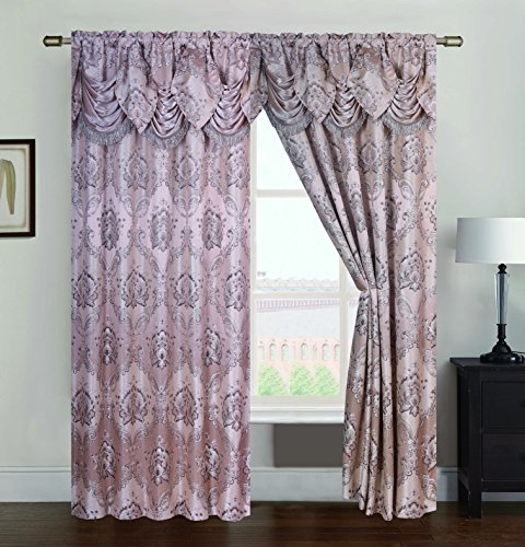 - RT Designers Collection Vernon Damask Jacquard 54 x 84 in. Rod Pocket Single Curtain Panel w/Attached 18