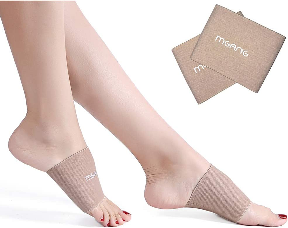 MGANG Compression Arch Sleeves, Lastest Upgraded, Perfect with Plantar Fasciitis Socks, Arch Support Brace for Women Men, Pain Relief, Heel Spurs, Flat Arches, Daily Wear, 1 Pair Beige M: Health & Personal Care