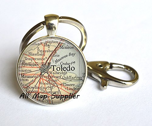 Charming Keychain,Toledo, Ohio map Key Ring, Toledo map Key Ring Toledo map Keychain charm vintage map jewelry Toledo Key (Halloween City Toledo)