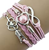 Love and Friendship Leather Bracelet for Women - Girls - Female Friends / Pearl Heart Infinity Gift pink