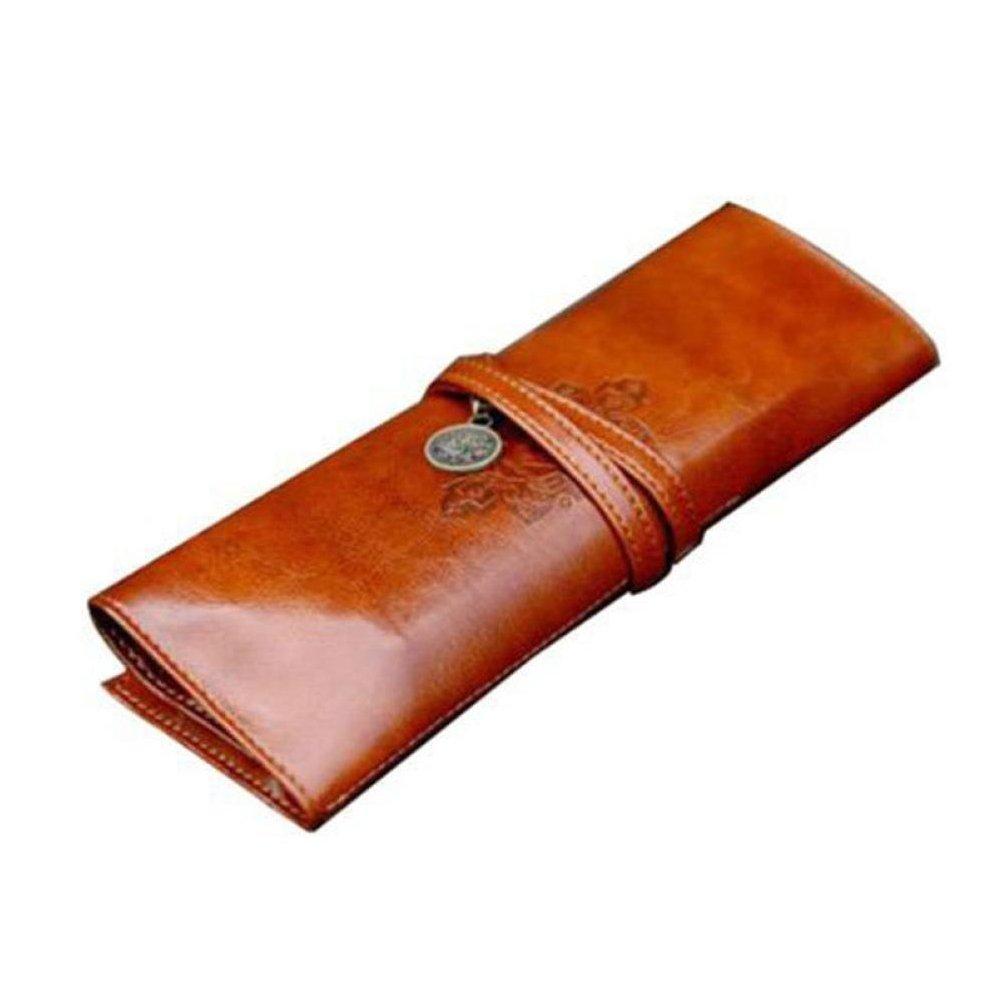 Fablcrew Printbox Trousse vintage Cuir PU Portable Pen Pocket Pouch Holder Sac de maquillage Marron
