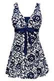 Wantdo Women's Summer Style Swimwear Swimsuit Tankini Cute Big Bust Dress Navy US 8-10