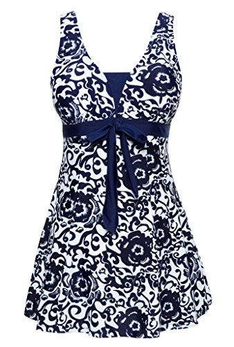 (Wantdo Women's Cover Up One Piece Swimdress Modest Printed Swimsuit,Navy,US10-12 US10-12 Navy(9007))
