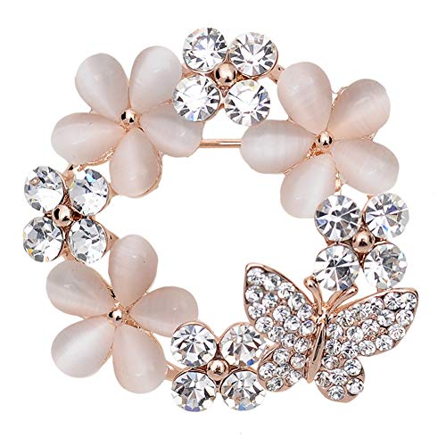 - Maikun Christmas Brooch Pin Clear Rhinestone Opal Flower Accessaries Tree Socks Valentine's Gifts