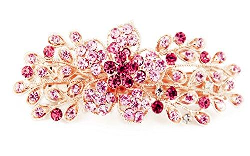 Yeshan Women Rhinestone Crystal beaded Flower Pattern Hair Barrettes Clips,Pink