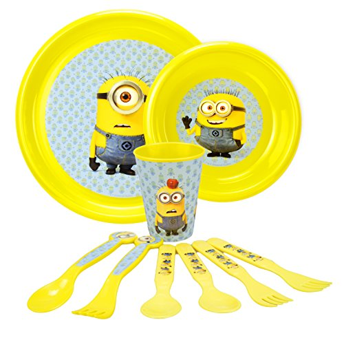 Despicable Me Minions Toddler Dinnerware 9 Piece Set, with Official Minion Forks, Spoons, Plates, and - Shopping Livingstone