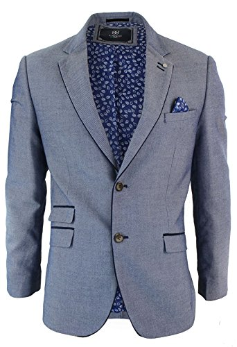 Mens Tweed Herringbone Sky Blue Navy Elbow Patch Blazer Wool Jacket Tailored Fit