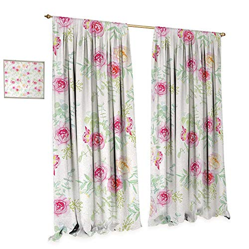 Anniutwo Watercolor Flower Room Darkening Wide Curtains Soft Colored Roses Vintage Old Style Retro Painting Spring Garden Decor Curtains by W84 x L84 White Pink Green