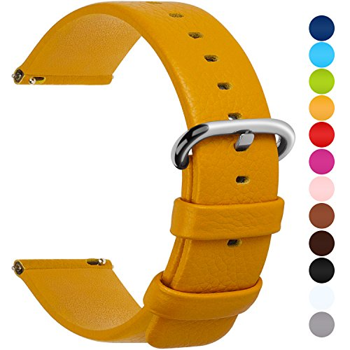 12 Colors for Quick Release Leather Watch Band, Fullmosa Uli Genuine Leather Watch Strap 18mm (011 Pebbles)