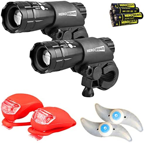 HeroBeam Bike Lights Double Set – The Ultimate Lighting and Safety Pack of Super Bright Front Bicycle Lights, Tail Lights and Wheel Lights – Includes All Batteries – 5 Year Warranty