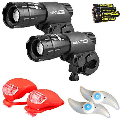 Zonda Wheel Front - HeroBeam Bike Lights Double Set - The Ultimate Lighting and Safety Pack of Super Bright Front Bicycle Lights, Tail Lights and Wheel Lights - Includes All Batteries - 5 Year Warranty
