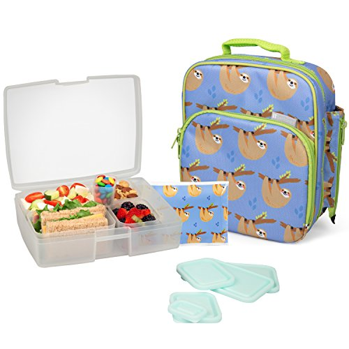 Bentology Lunch Bag and Box Set - Includes Insulated Bag with Handle, Bento Box, 5 Containers and Ice Pack (Sloths)