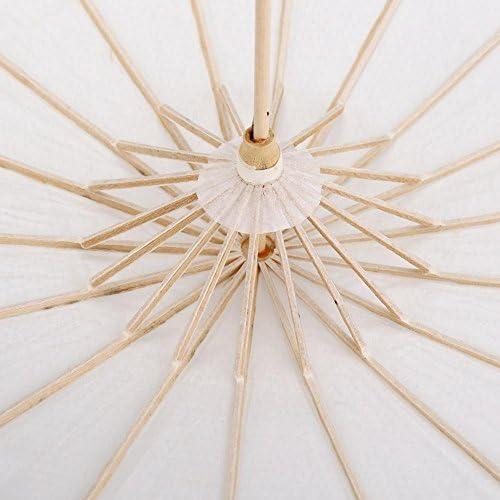 Weiße Farbe Papier Dekorative Regenschirm Papierschirm Sonnenschirm Hochzeit Braut Party Decor Foto Cosplay Prop(60cm)