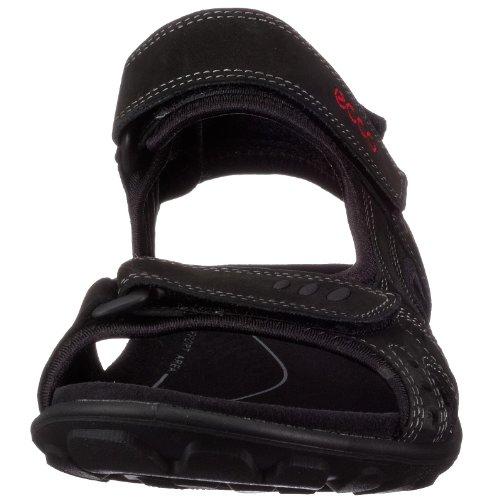 Ecco All Terrain 027744 - Sandalias de cuero nobuck para hombre Negro (BLACK201)