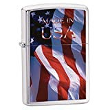 American Eagle and Flag Patriotic Zippo Outdoor Indoor Windproof Lighter Free Custom Personalized Engraved Message Permanent Lifetime Engraving on Backside