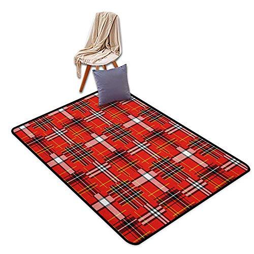 Bath Rug Plaid Traditional Tartan Pattern European Culture Inspiration Abstract Geometric Motifs Floor Rug Pattern ()