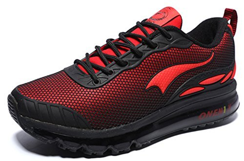 Onemix Men's Lightweight Air Cushion Sport Running Shoes (Black Red 12)