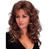Deifor Women 80s Rocker Wigs Long Curly Heat Resistant Synthetic Natural Looking Hair for Cosplay(Brown Mix Blonde)