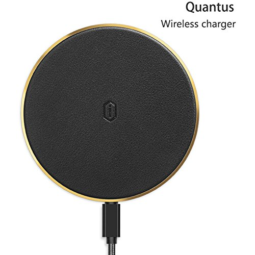 WIWU Ultra Slim QI Wireless Charger For Iphone X / 8 / 8 Plus, High-Speed Charging For Samsung Galaxy S8, Galaxy S7, Galaxy S6 and Other Qi devices, Sleep Friendly Charger, Safe & Portable (Black)