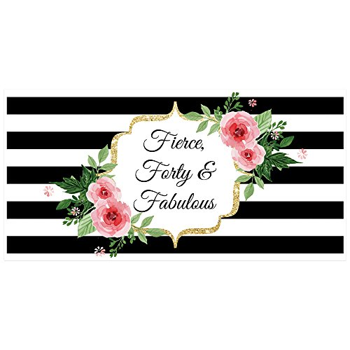 Fierce Fabulous and Forty Black and White Striped Floral Party Backdrop Decoration
