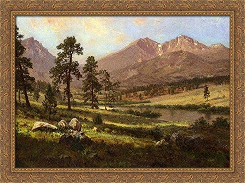 Long's Peak, Estes Park, Colorado 38x28 Large Gold Ornate Wood Framed Canvas Art by Albert ()