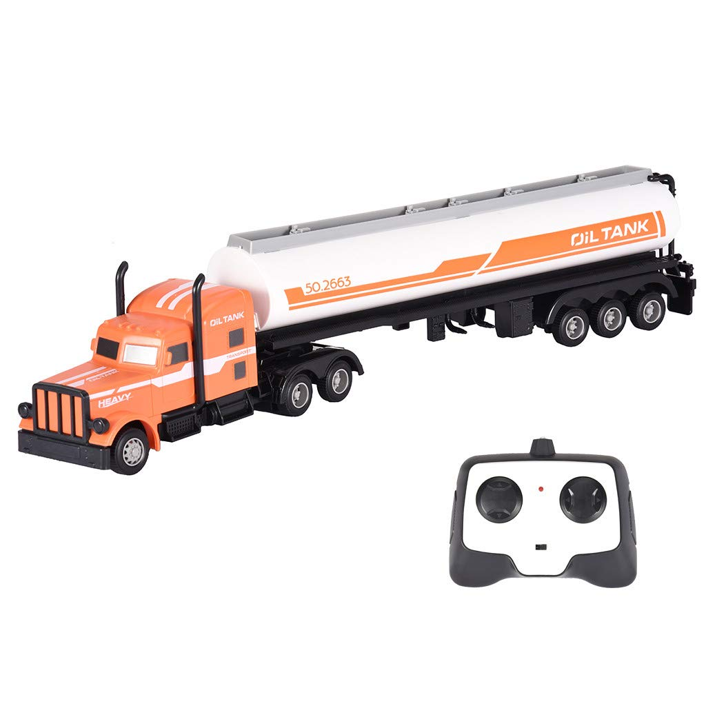 Rigel7 RB1904 2.4G 1/16 Oil Tank Tractor Cargo Truck RC Car Transport Vehicle RTR Gift for Boys Girls Birthday Halloween