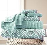 OV 6 Piece Blue Floral Towel Set, French Country Jacquard Motif Chic Flower Theme Towels, Flowers Vines Leaf Pattern Soft Cozy Absorbent Wash Cloth Bath Solid Color Reversible Bathroom, Cotton