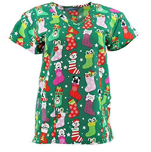 V-Neck Print Scrub Top Christmas Holiday, Christmas Stockings, M