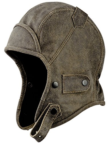 Sterkowski Genuine Leather Trapper Aviator Hat US 7 1/4 - US 7 3/8 (Distressed Leather Bomber)