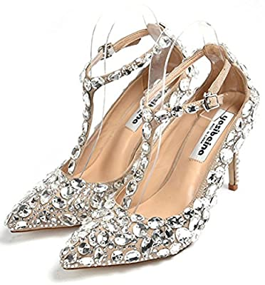 Women's T-strap Cinderella Princess Crystal Pumps Bling Rhinestones Glass Slipper High Heel Wedding Shoes