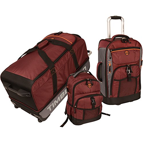 Timberland Hampton Falls 3 Piece Set, Chocolate Truffle/Steel Grey/Burnt Orange/Black, One Size (Wheeled Duffel Set)